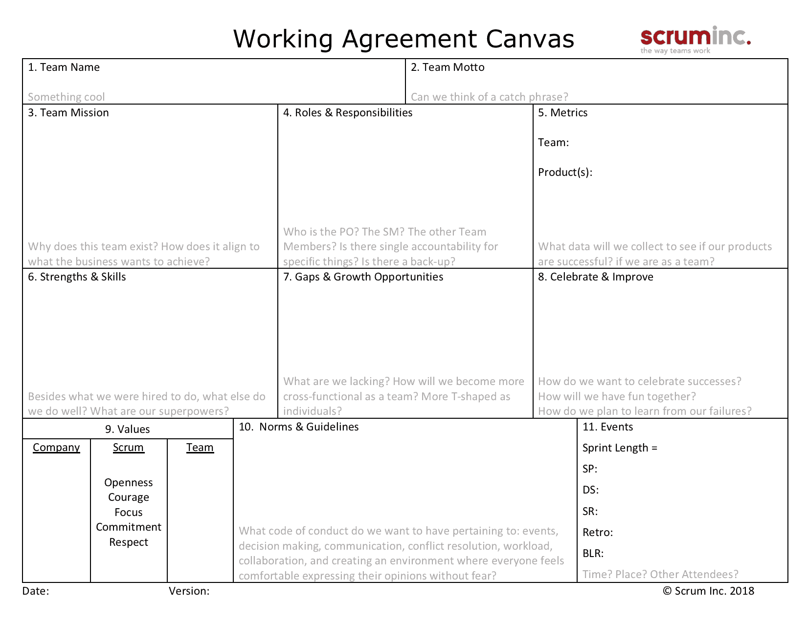 Team Working Agreement Canvas Scrum Inc
